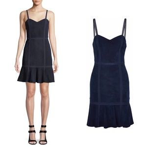 ALICE + OLIVIA Desmond Crochet Leather Suede Dress